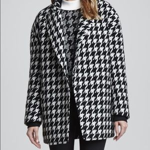 Theory Houndstooth Danvey Wool Blend Cocoon Coat